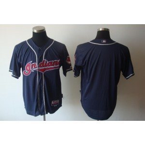 MLB Indians Blank Navy Blue Cool Base Men Jersey