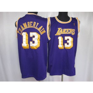 NBA Lakers 13 Wilt Chamberlain Purple Throwback Men Jersey
