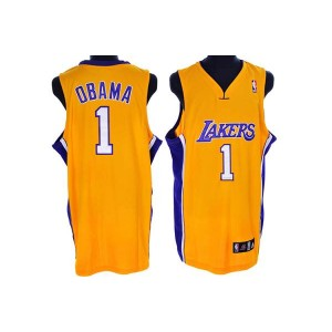 NBA Lakers 1 President Obama Yellow Men Jersey