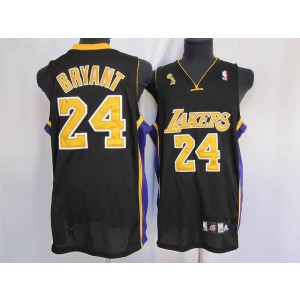 NBA Lakers 24 Kobe Bryant Black Gold number Champion Patch Men Jersey