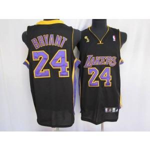 NBA Lakers 24 Kobe Bryant Black Purple number Champion Patch Men Jersey