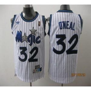 NBA Magic 32 Shaquille O'Neal White Throwback Men Jersey