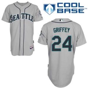 MLB Mariners 24 Ken Griffey Grey Cool Base Men Jersey