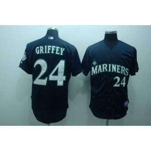 MLB Mariners 24 Ken Griffey Navy Blue Men Jersey