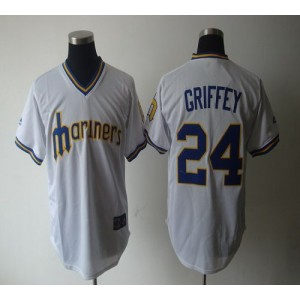 MLB Mariners 24 Ken Griffey White Cooperstown Throwback Men Jersey