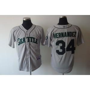 MLB Mariners 34 Felix Hernandez Grey Cool Base Men Jersey