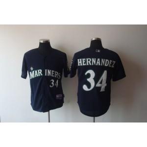 MLB Mariners 34 Felix Hernandez Navy Blue Cool Base Men Jersey