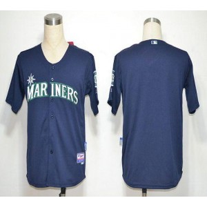 MLB Mariners Blank Navy blue Cool Base Men Jersey