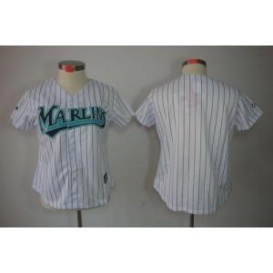 MLB Marlins Blank White Fashion Women Jersey