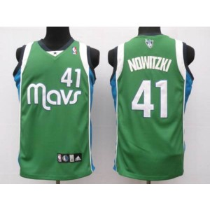 NBA Mavericks 41 Dirk Nowitzki Green Men Jersey