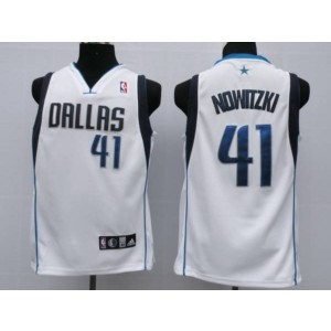 NBA Mavericks 41 Dirk Nowitzki White Men Jersey