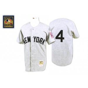MLB Yankees 4 Lou Gehrig Grey 1939 Mitchell and Ness Men Jersey