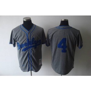 MLB Dodgers 4 Babe Herman Grey 1945 Mitchell and Ness Throwback Men Jersey