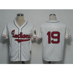 MLB Indians 19 Bob Feller Cream 1948 Mitchell and Ness Throwback Men Jersey