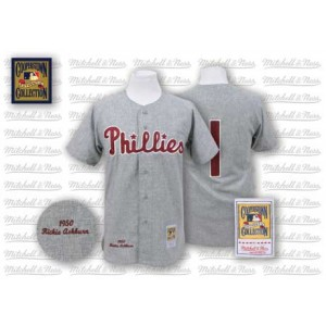 MLB Phillies 1 Richie Ashburn Grey 1950 Mitchell and Ness Men Jersey