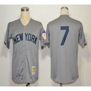 MLB Yankees 7 Mickey Mantle Grey 1951 Mitchell and Ness Throwback Men Jersey