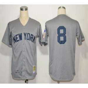 MLB Yankees 8 Yogi Berra Grey 1951 Mitchell and Ness Throwback Men Jersey