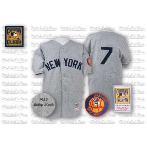 MLB Yankees 7 Mickey Mantle Grey 1952 Mitchell and Ness Men Jersey