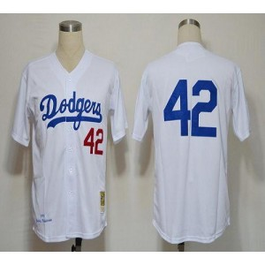 MLB Dodgers 42 Jackie Robinson White 1955 Mitchell and Ness Men Jersey