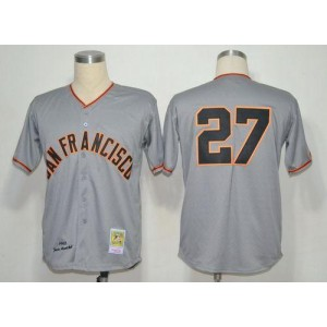 MLB Giants 27 Juan Marichal Grey 1962 Mitchell and Ness Throwback Men Jersey