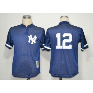 MLB Yankees 12 Wade Boggs Blue 1995 Mitchell and Ness Throwback Men Jersey