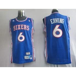 NBA 76ers 6 Julius Erving Blue Throwback Men Jersey