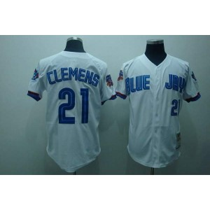 MLB Blue Jays 21 Roger Clemens White Mitchell and Ness Men Jersey