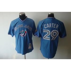 MLB Blue Jays 29 Joe Carte Blue Mitchell and Ness Men Jersey