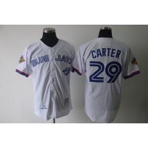 MLB Blue Jays 29 Joe Carter White Mitchell and Ness Men Jersey