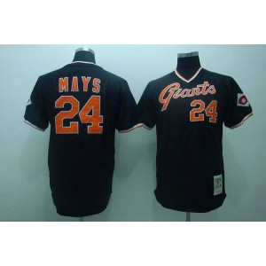 MLB Giants 24 Mays Black Mitchell and Ness Throwback Men Jersey