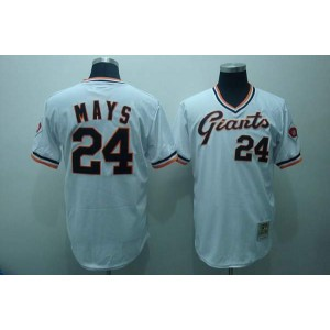 MLB Giants 24 Willie Mays White Mitchell and Ness Throwback Men Jersey