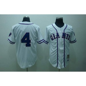 MLB Giants 4 Mel Ott White Mitchell and Ness Throwback Men Jersey