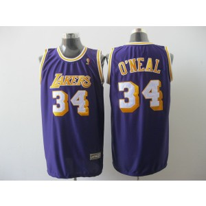 NBA Lakers 34 Shaquille O'Neal Purple Men Jersey