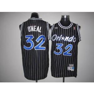 NBA Magic 32 Shaquille O'Neal Black Throwback Men Jersey