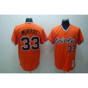 MLB Orioles 33 Eddie Murray Orange Mitchell and Ness Throwback Men Jersey