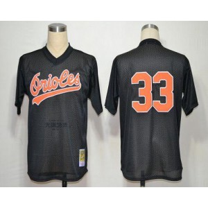 MLB Orioles 33 Eddie Murray Black Mitchell and Ness Throwback Men Jersey