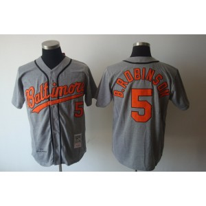 MLB Orioles 5 Brooks Robinson Grey Mitchell and Ness Throwback Men Jersey