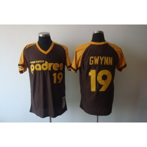 MLB Padres 19 Tony Gwynn Brown Mitchell and Ness Throwback Men Jersey