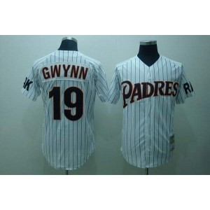 MLB Padres 19 Tony Gwynn Mitchell and Ness Throwback Men Jersey