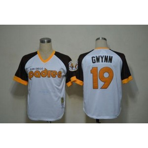 MLB Padres 19 Tony Gwynn White Mitchell and Ness Throwback Men Jersey