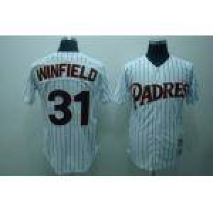 MLB Padres 31 Dave Winfield White(Black Strip) Mitchell and Ness Throwback Men Jersey