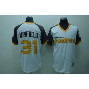 MLB Padres 31 Dave Winfield White Mitchell and Ness Throwback Men Jersey