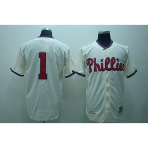 MLB Phillies 1 Richie Ashburn Cream Mitchell and Ness Throwback Men Jersey