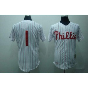 MLB Phillies 1 Richie Ashburn White Red Strip Mitchell and Ness Throwback Men Jersey