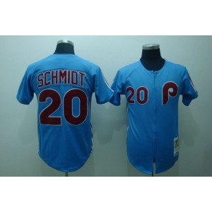 MLB Phillies 20 Mike Schmidt Blue Mitchell and Ness Throwback Men Jersey
