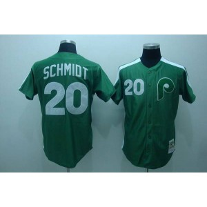 MLB Phillies 20 Mike Schmidt Green Mitchell and Ness Throwback Men Jersey