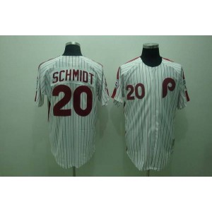 MLB Phillies 20 Mike Schmidt White Red Strip Mitchell and Ness Throwback Men Jersey