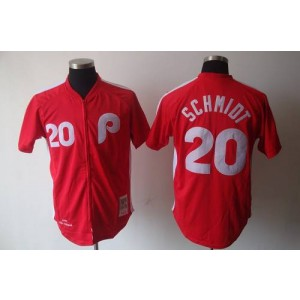 MLB Phillies 20 Mike Schmidt Red Mitchell and Ness Men Jersey