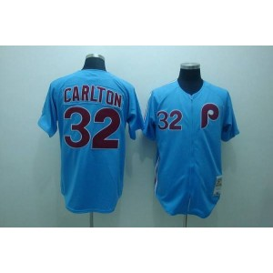 MLB Phillies 32 Steve Carlton Blue Mitchell and Ness Throwback Men Jersey