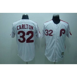 MLB Phillies 32 Steve Carlton White Red Strip Mitchell and Ness Throwback Men Jersey